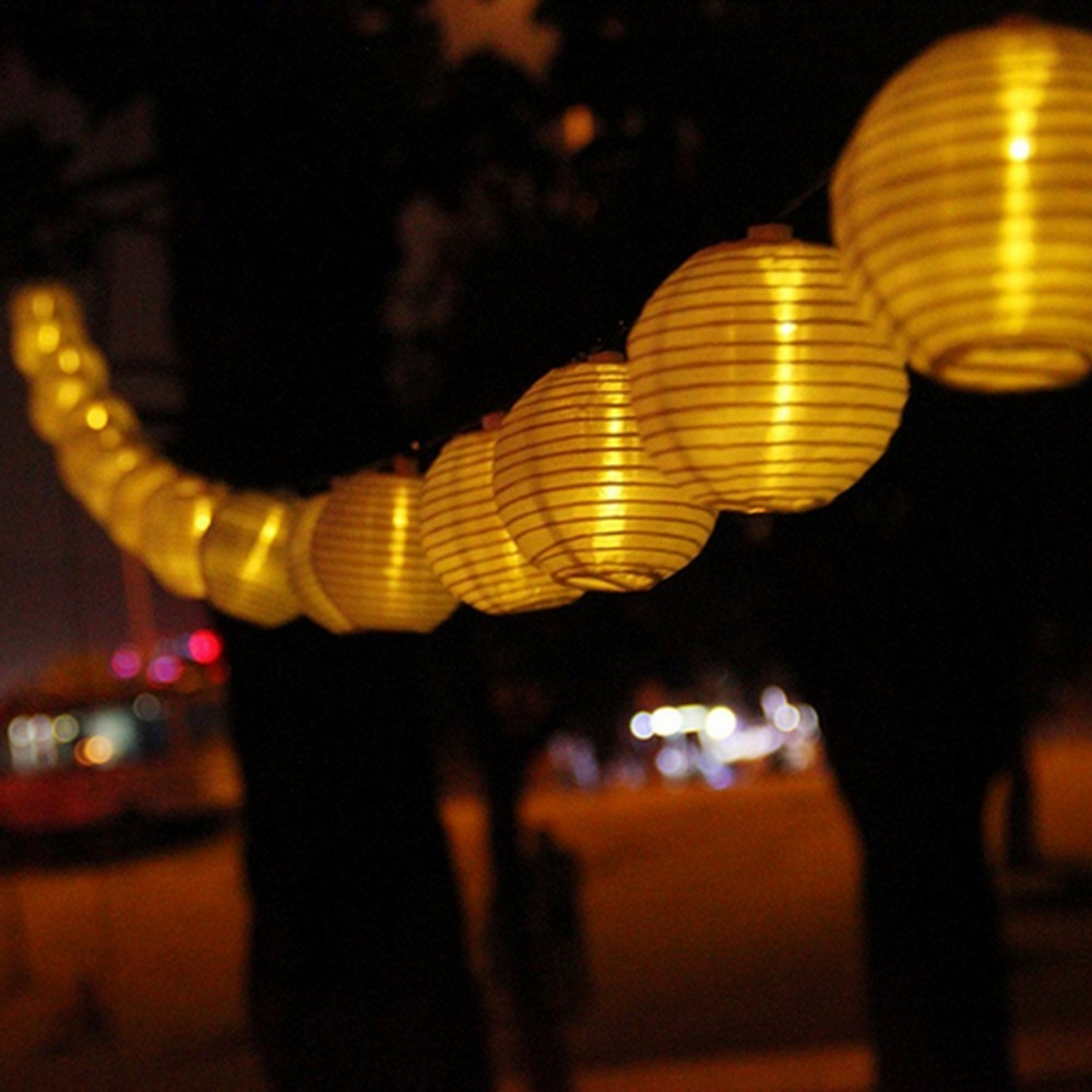 Vunji 5M Solar Light 20 Leds Outdoor Nylon Lantern String Light For Favorite Outdoor Nylon Lanterns (View 18 of 20)