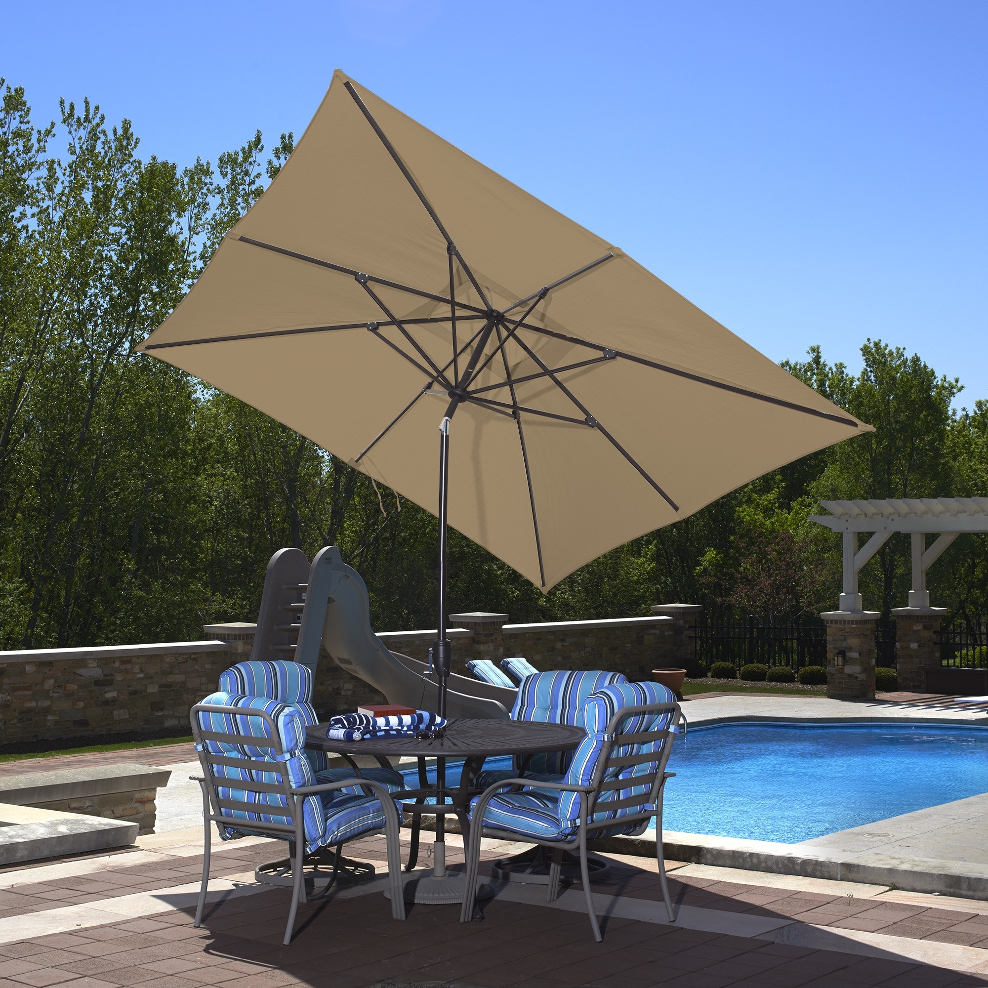 Wayfair Patio Umbrellas With Best And Newest Blue Wave 10' X 8' Rectangular Market Umbrella & Reviews (View 13 of 20)