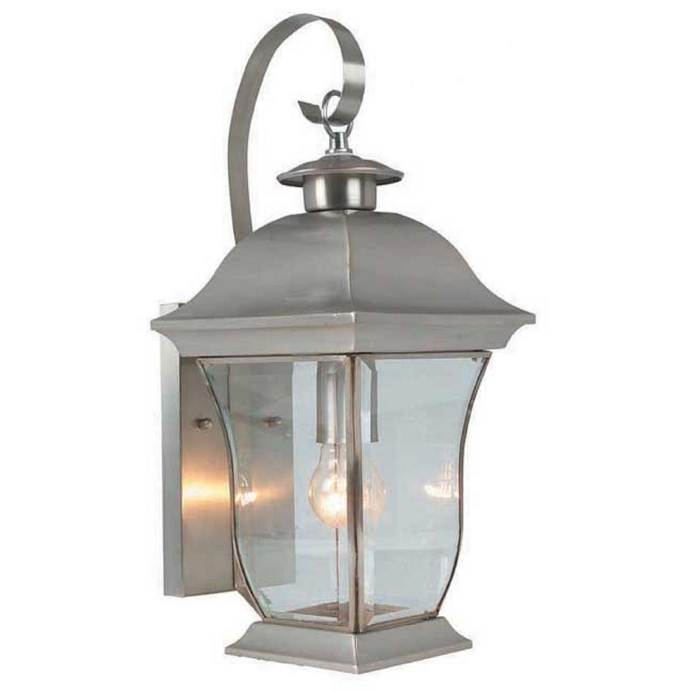 Well Known Bel Air Lighting Wall Flower 1 Light Brushed Nickel Outdoor Coach Intended For Nickel Outdoor Lanterns (View 19 of 20)