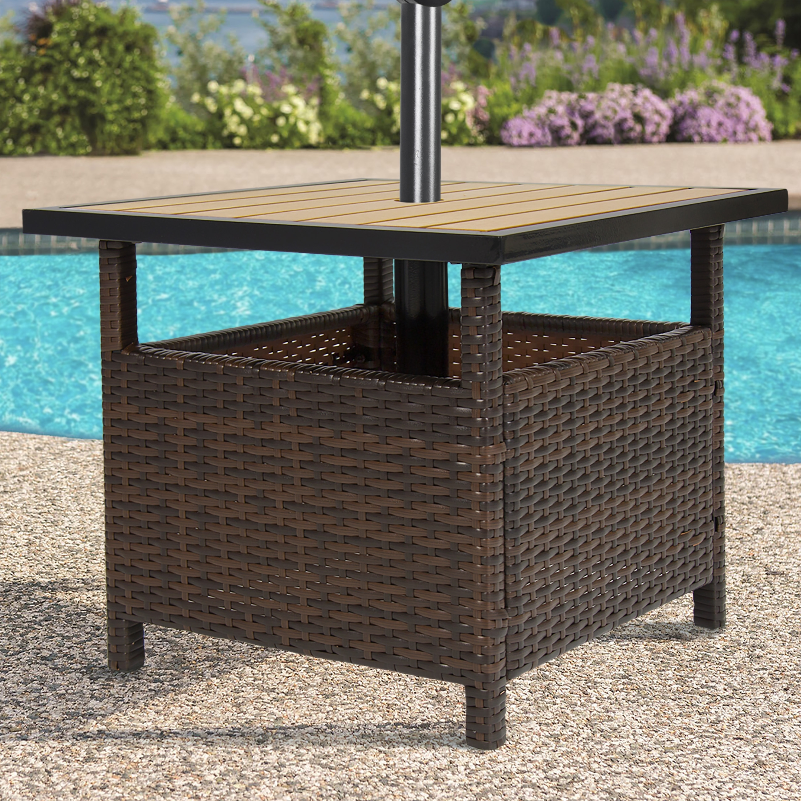 Well Known Best Choice Products Outdoor Furniture Wicker Rattan Patio Umbrella Throughout Patio Umbrella Side Tables (View 7 of 20)