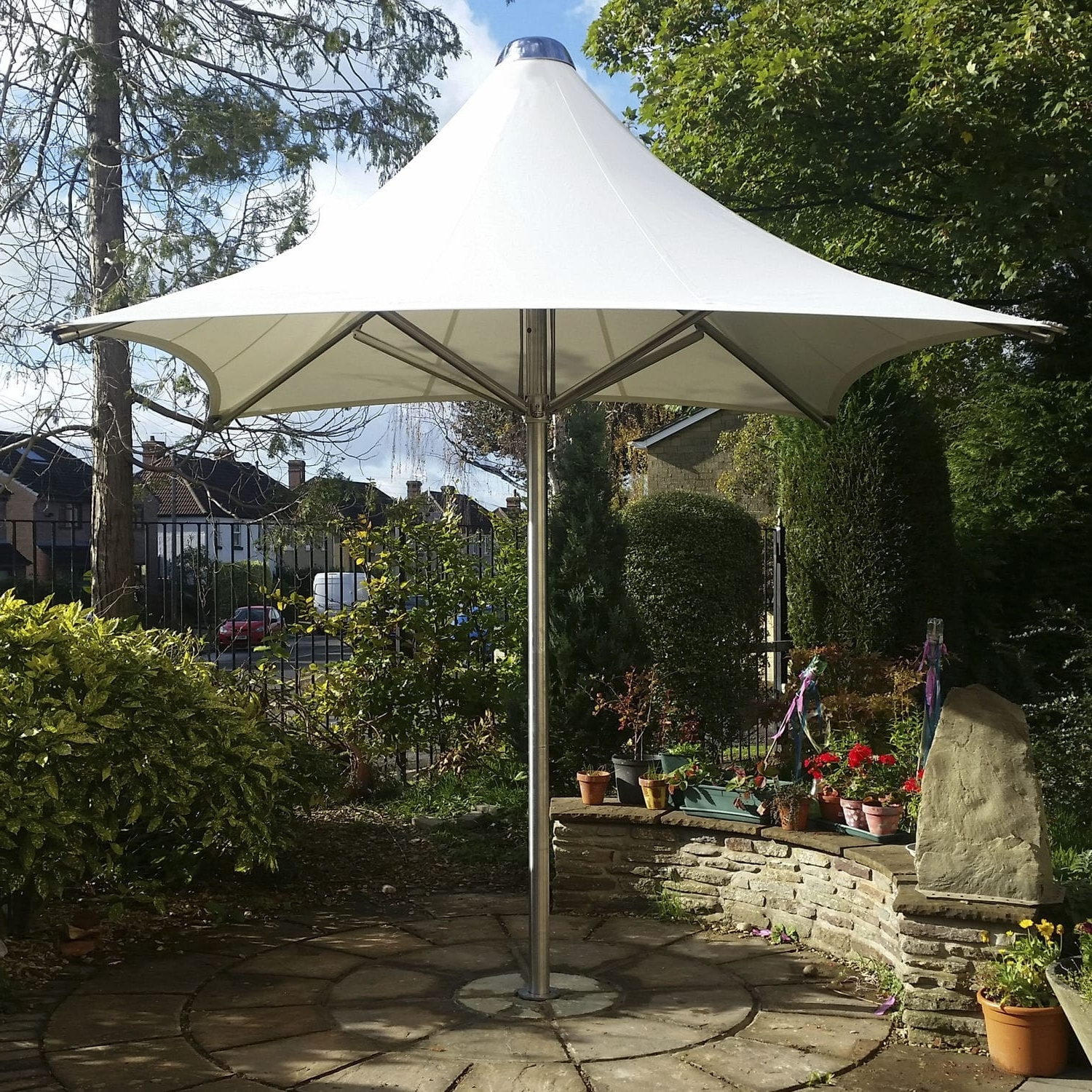 Well Known Commercial Patio Umbrella / Stainless Steel / Pvc / Wind Resistant In Wind Resistant Patio Umbrellas (View 5 of 20)
