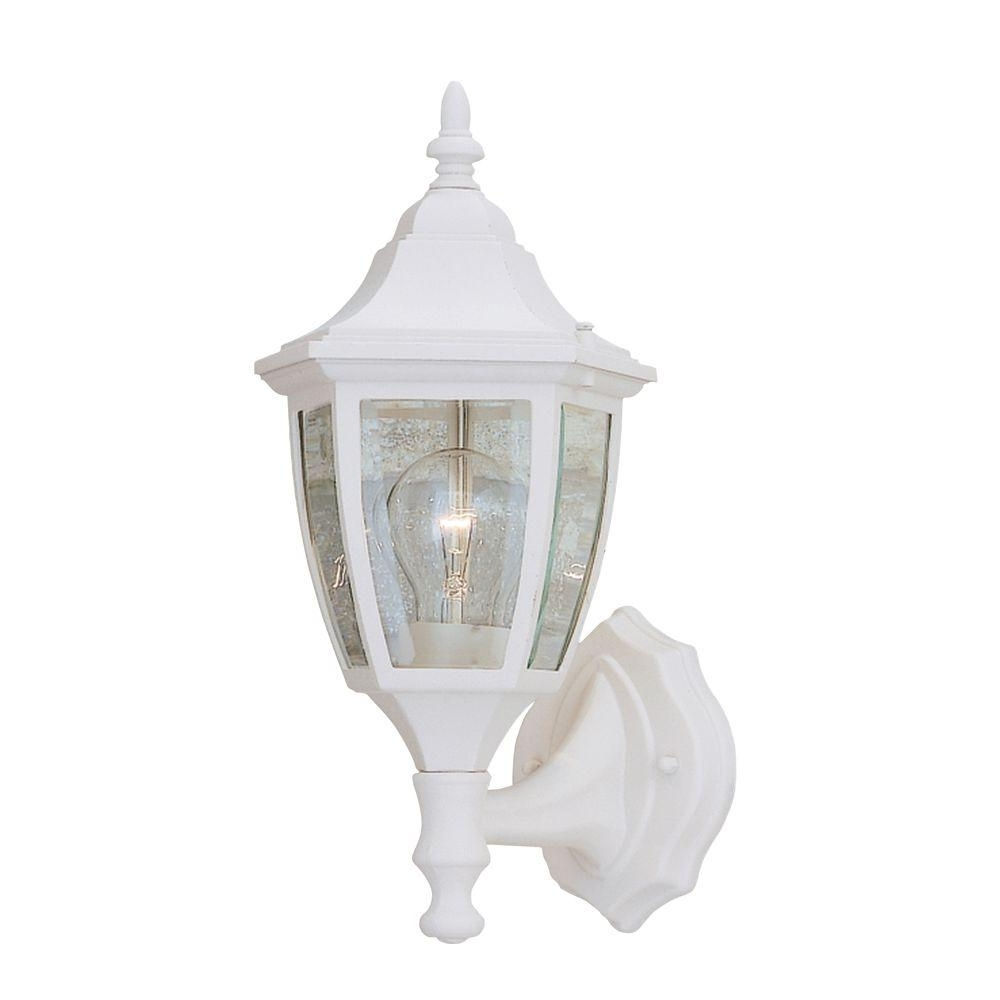 Well Known Designers Fountain Waterbury Collection White Outdoor Wall Mount Pertaining To White Outdoor Lanterns (View 10 of 20)