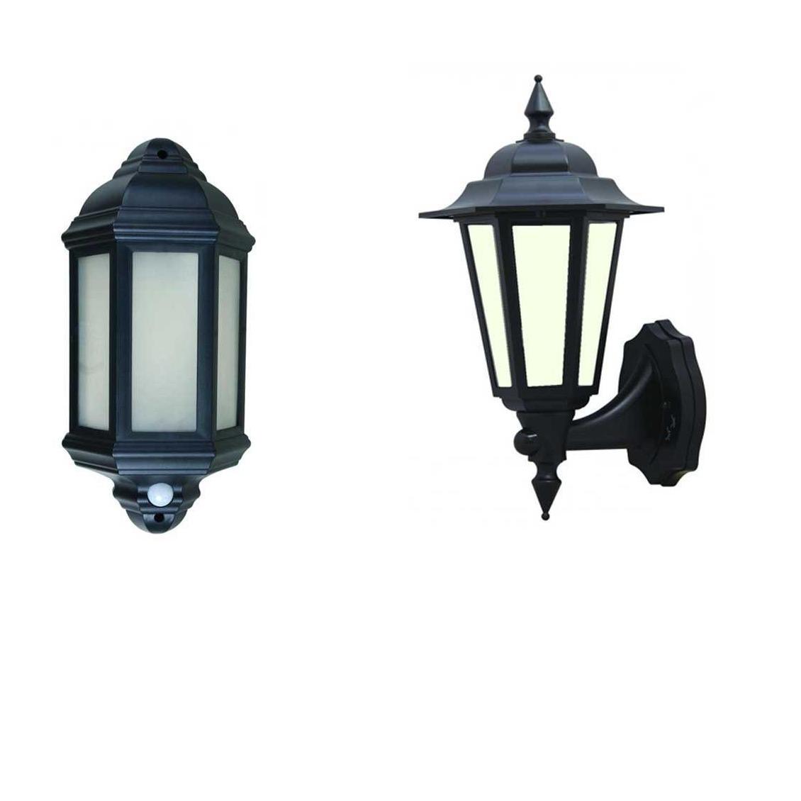 Well Known Led Outdoor Garden Wall Half Lantern Pir Black Ip44 External 7 Watt For Outdoor Pir Lanterns (View 17 of 20)