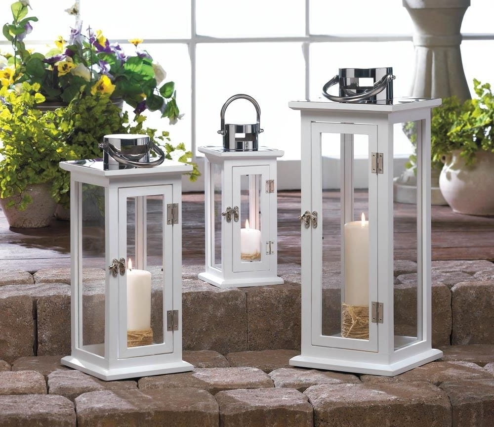 Well Known Metal Lanterns, Highland Large Decorative Floor Patio Rustic Outdoor Within Outdoor Table Lanterns (View 18 of 20)