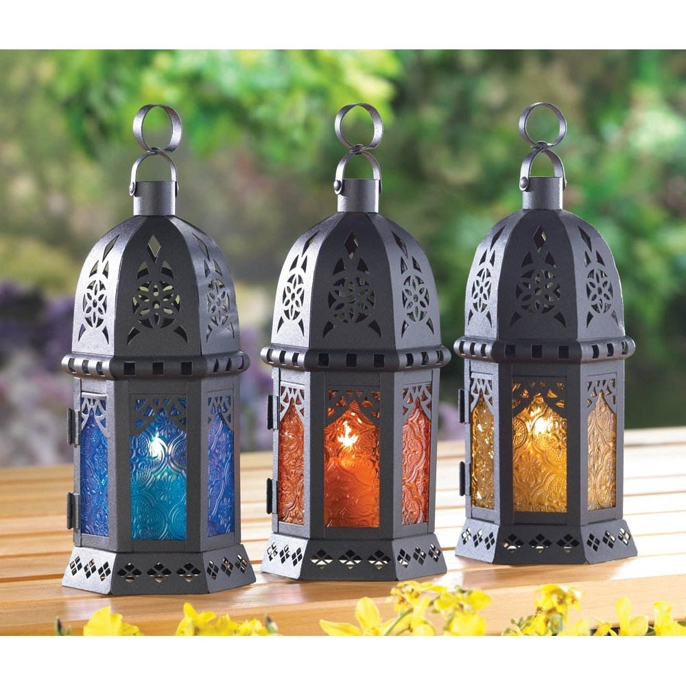 Well Known Moroccan Outdoor Lanterns Inside Moroccan Lantern Decor, Yellow Glass Decorative Outdoor Lanterns For (View 20 of 20)
