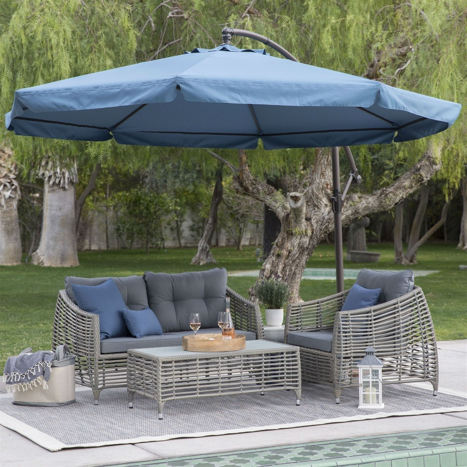 Well Known Navy Blue 11 Ft Offset Steel Patio Umbrella Gazebo Canopy With Pertaining To Patio Umbrellas With Netting (View 18 of 20)