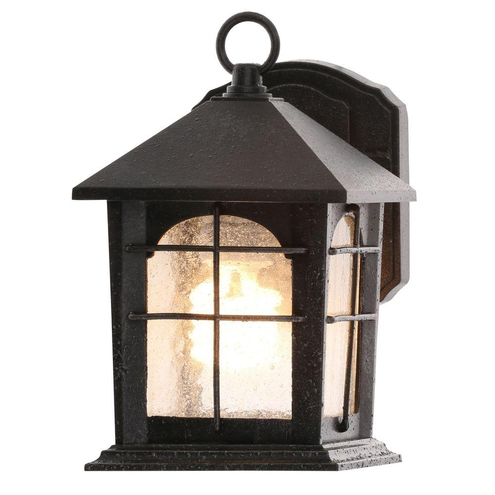 Well Known Outdoor Iron Lanterns Throughout Home Decorators Collection Brimfield 1 Light Aged Iron Outdoor Wall (View 7 of 20)