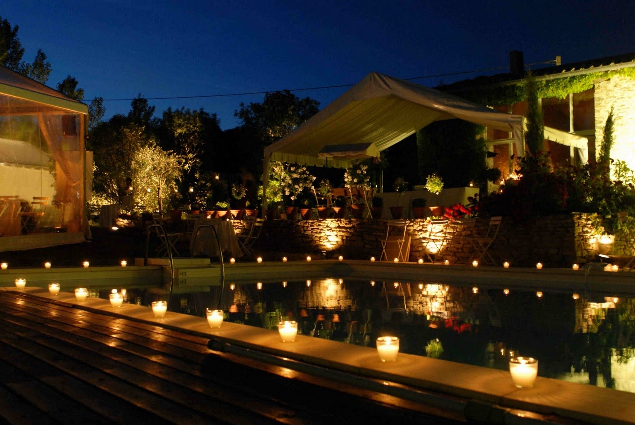 Well Known Outdoor Pool Lanterns With Regard To Gorgeous Outdoor Pool Table With Lights And Floating Candles (View 6 of 20)