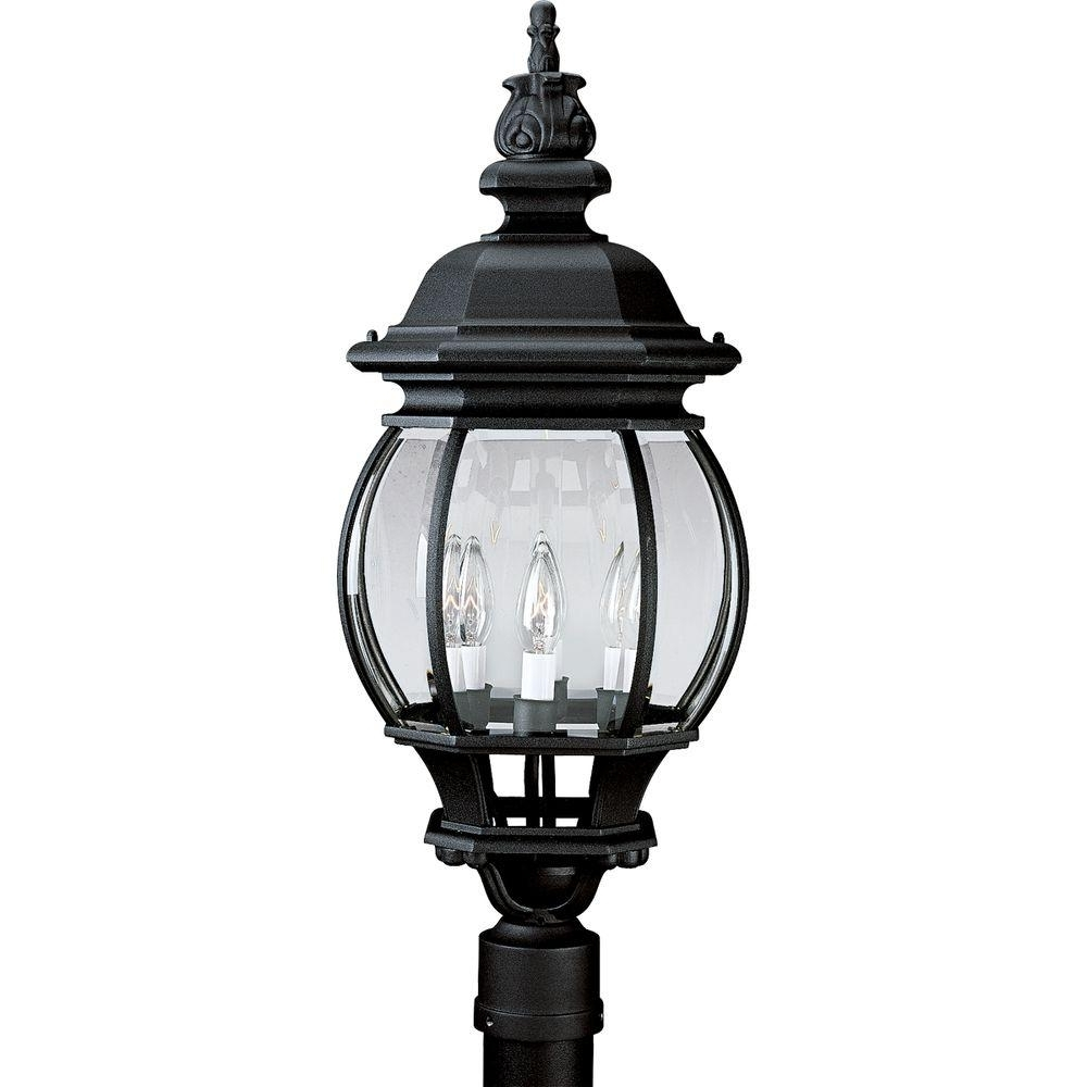 Well Known Outdoor Post Lanterns Intended For Progress Lighting Onion Lantern Collection Textured Black 4 Light (View 20 of 20)