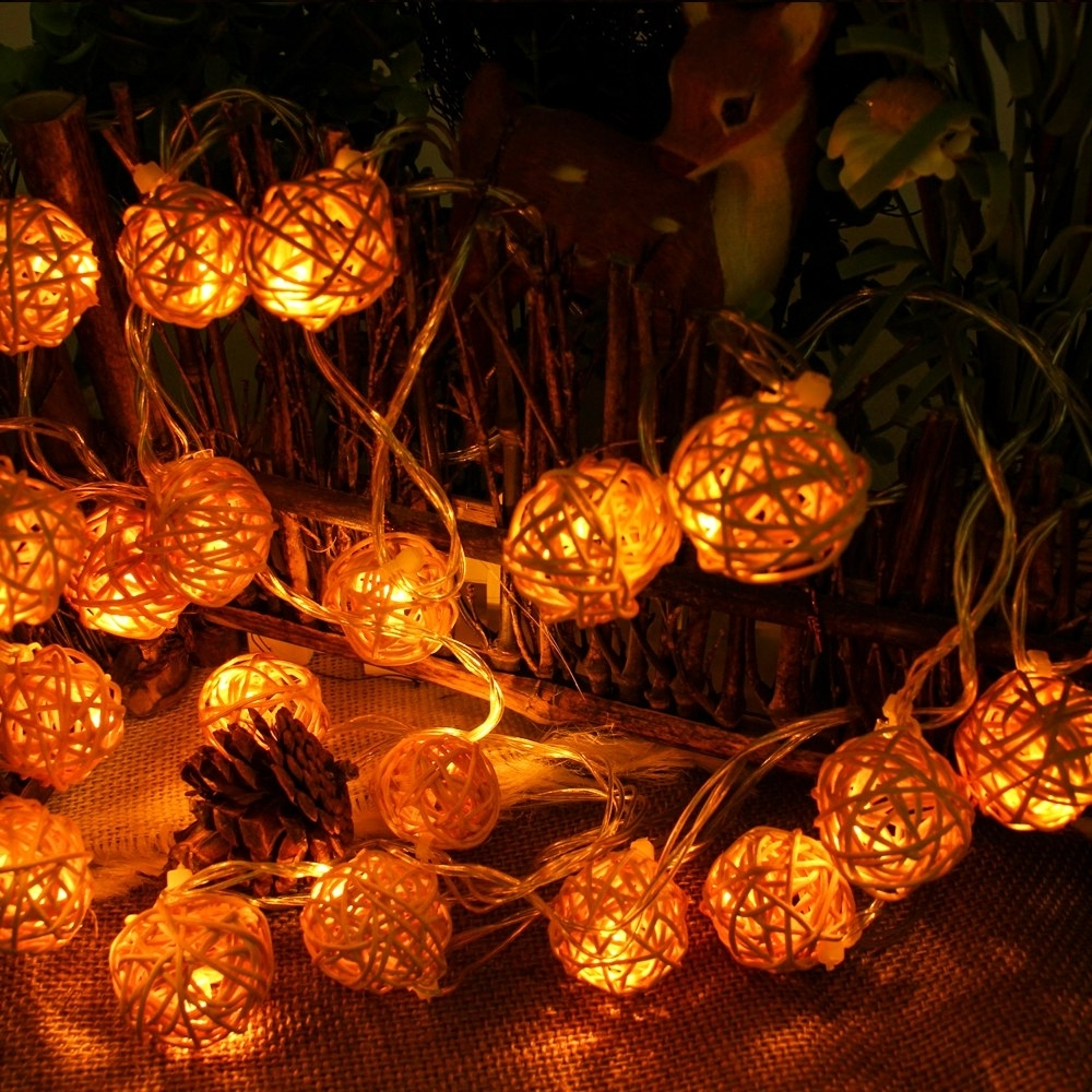 Well Known Outdoor Rattan Lanterns For Connectable 5m 20leds Christmas Lights Indoor Outdoor Rattan Ball (View 16 of 20)
