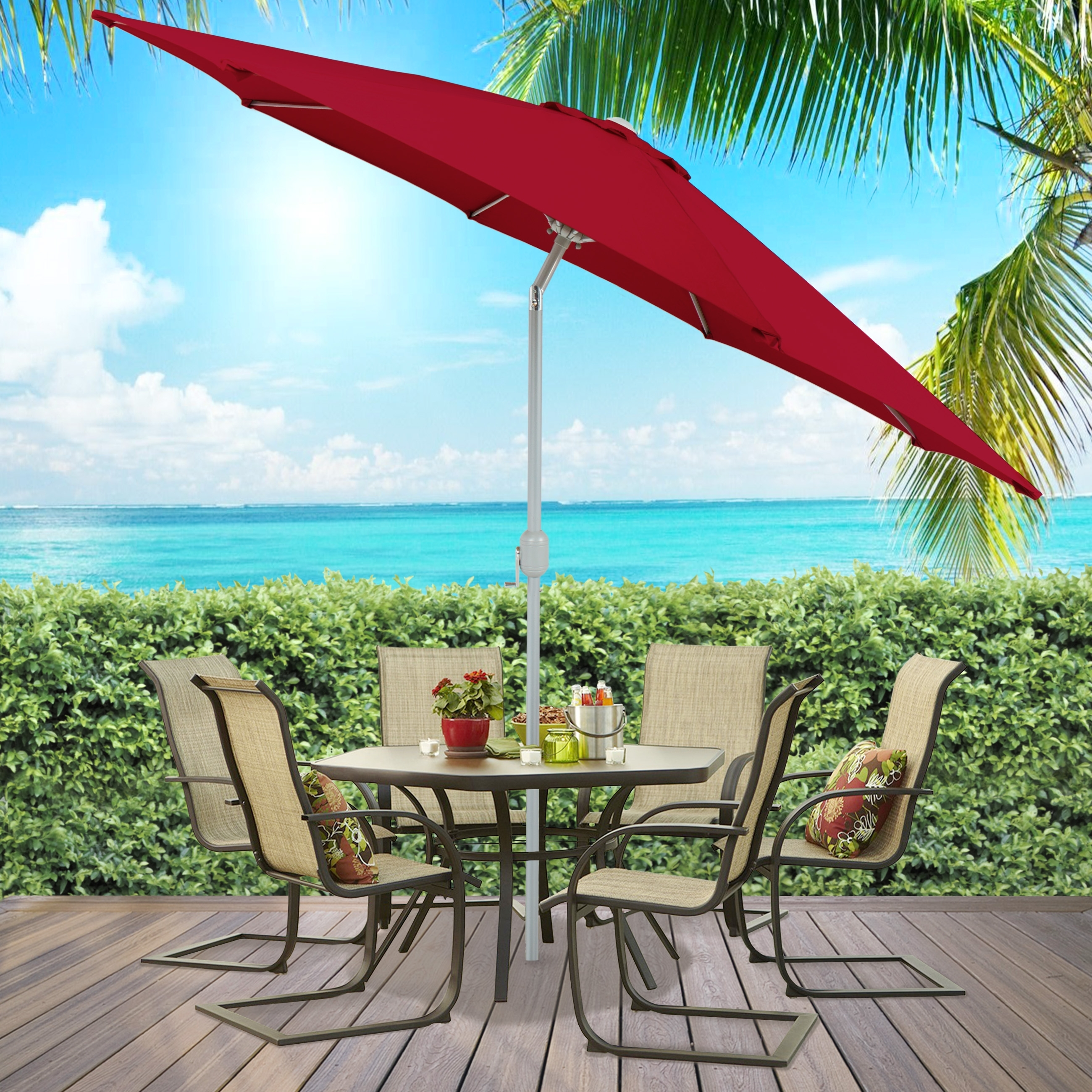 Well Known Patio Umbrella 9' Aluminum Market Tilt W/ Crank Outdoor – Multiple For Outdoor Patio Umbrellas (View 7 of 20)