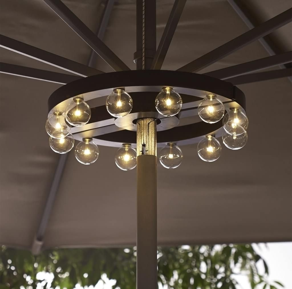 Well Known Patio Umbrellas With Led Lights Intended For Lighting: Stunning Blue Fluorescent Patio Umbrella Lights In Globe (View 19 of 20)