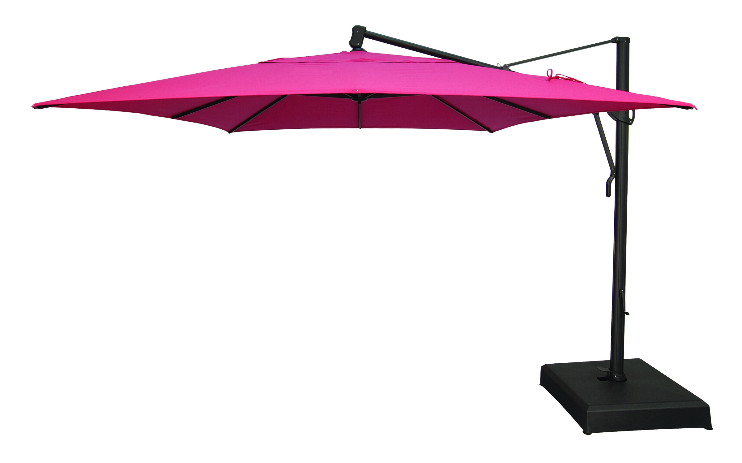 Well Known Pink Patio Umbrellas Regarding Pink Fabric Outdoor Umbrella With Black Iron Base And Swing Arm Of (View 8 of 20)
