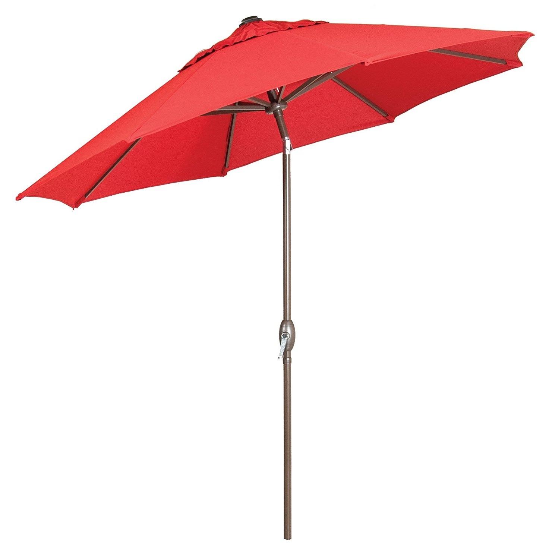 Well Known Premium Market Outdoor Patio Umbrella Bright Red (Crank & Tilt Throughout Red Sunbrella Patio Umbrellas (View 8 of 20)