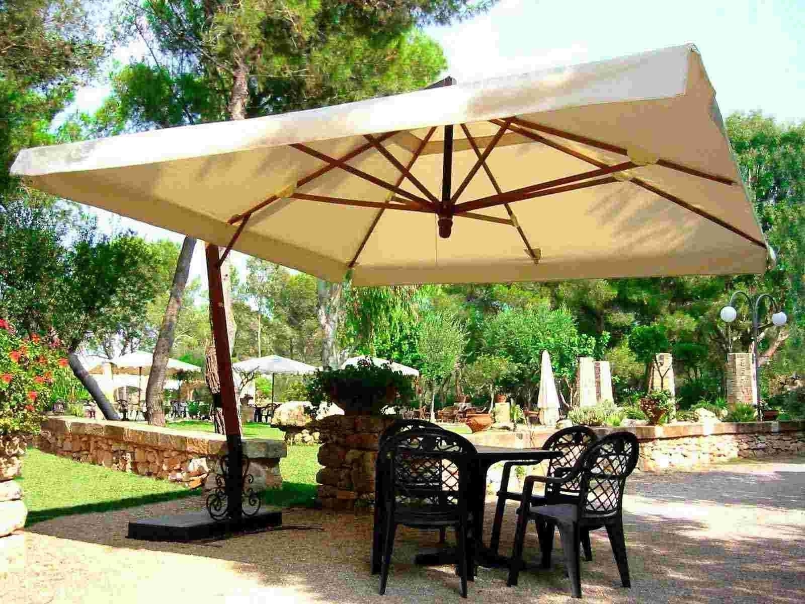 Well Known Rectangular Patio Umbrellas With Regard To Fancy Rectangular Patio Umbrella With Lights F77X On Perfect Home (View 20 of 20)