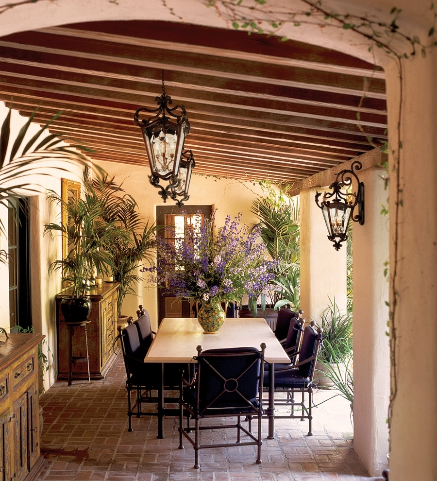 Well Known Rustic Outdoor Furniture Plans Patio Farmhouse Table Country Style Pertaining To Outdoor Dining Lanterns (View 19 of 20)