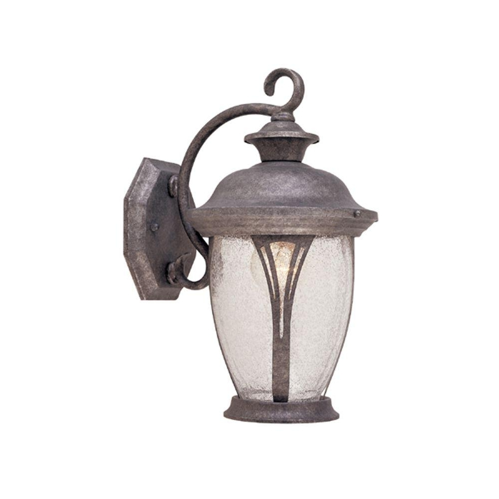 Well Known Silver Outdoor Lanterns Pertaining To Designers Fountain Thatcher Collection Rustic Silver Outdoor Wall (View 19 of 20)