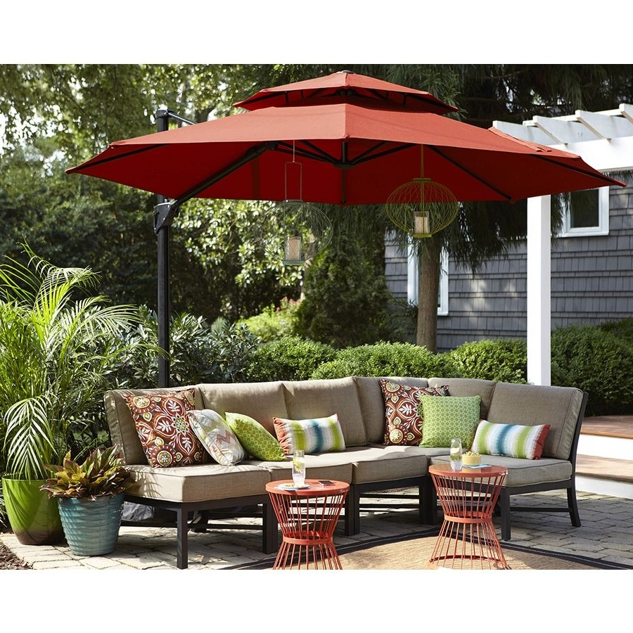 Well Known Sunbrella Patio Table Umbrellas With Shop Garden Treasures Red Offset Patio Umbrella (common: (View 13 of 20)