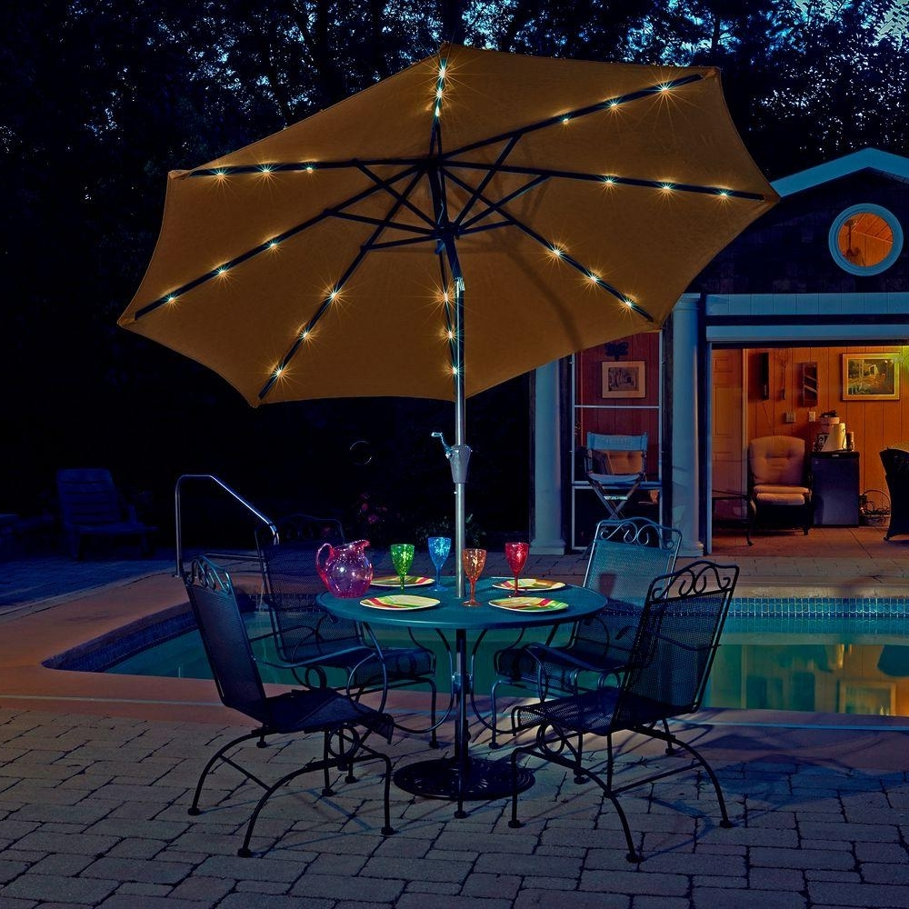 Well Known Sunbrella Patio Umbrellas With Solar Lights In Sunbrella Patio Umbrella With Lights F16x On Most Creative Small (View 10 of 20)