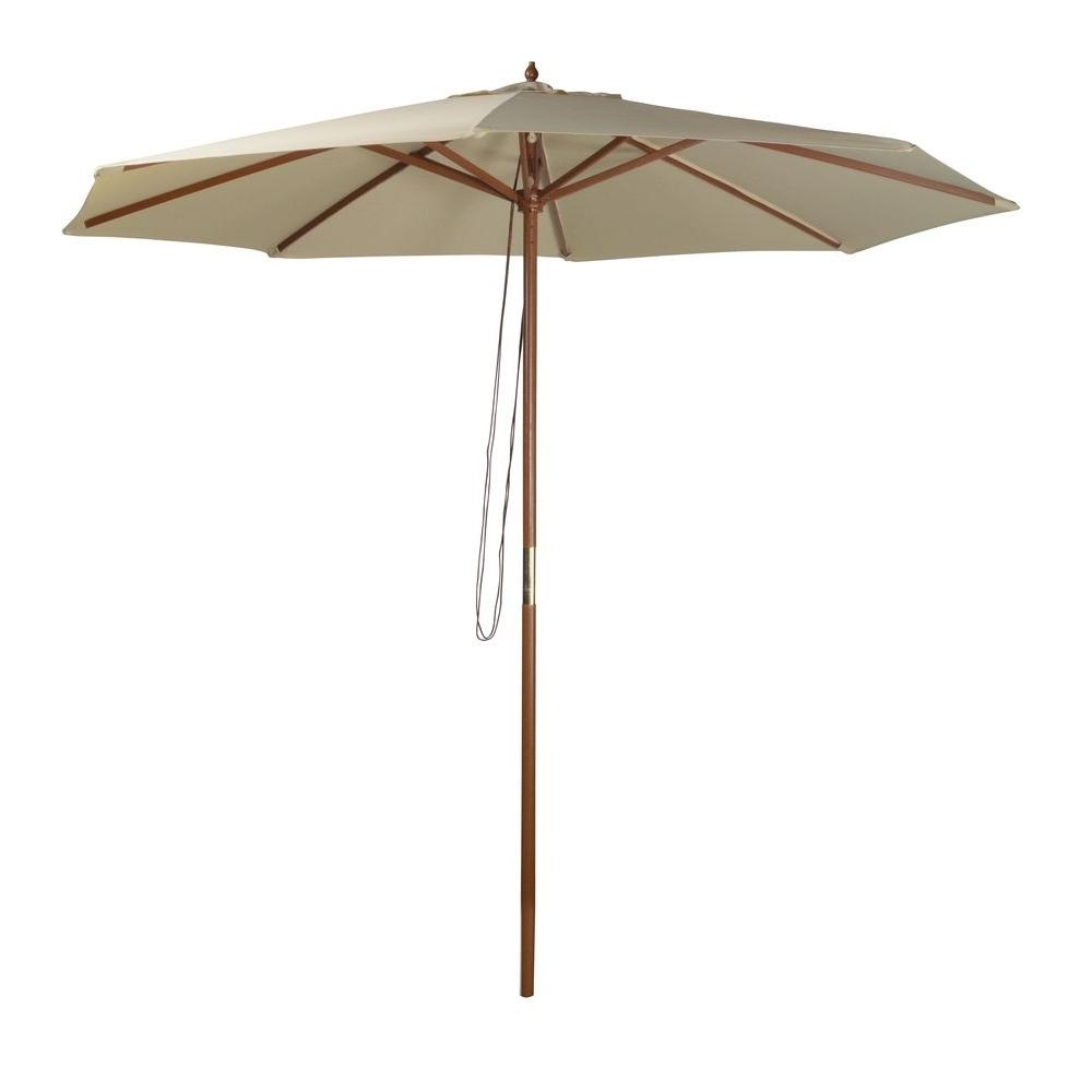 Well Known Wood – Market Umbrellas – Patio Umbrellas – The Home Depot Inside Wooden Patio Umbrellas (View 15 of 20)
