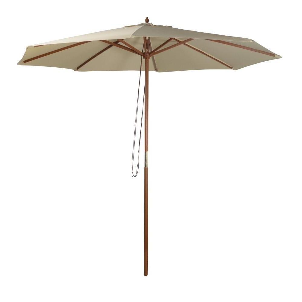 Well Known Wood – Market Umbrellas – Patio Umbrellas – The Home Depot Inside Wooden Patio Umbrellas (View 5 of 20)