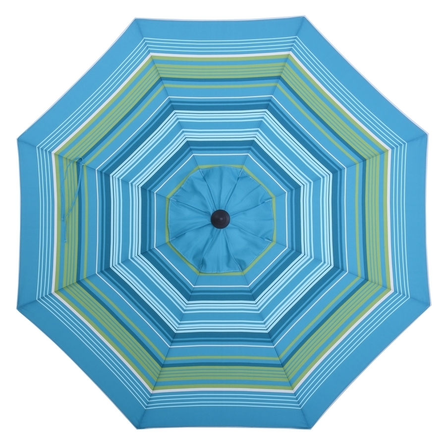 Well Liked 9 Ft Patio Umbrellas Intended For Shop Allen + Roth Teal Green Stripe Market 9 Ft Patio Umbrella At (View 19 of 20)