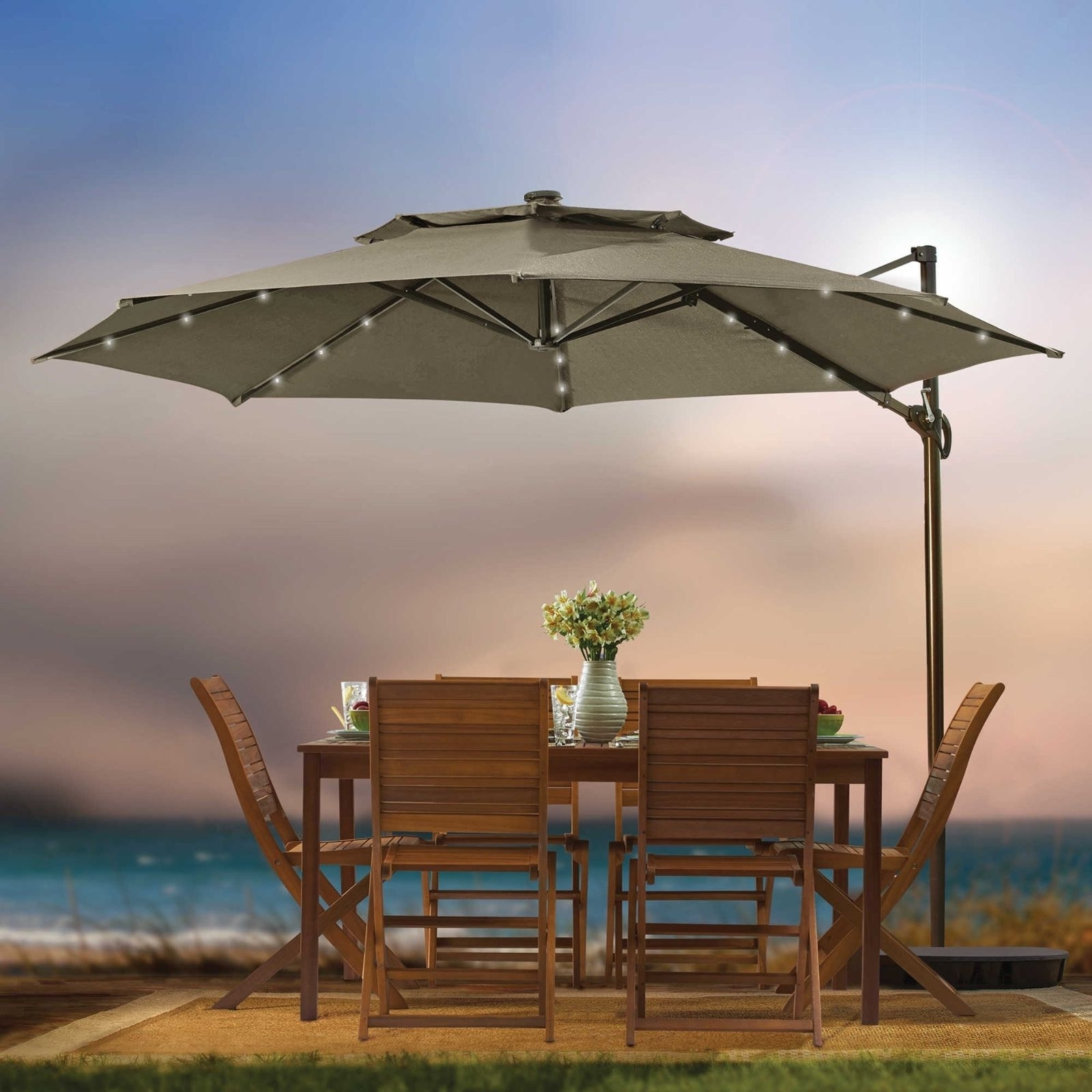 Well Liked Jumbo Patio Umbrellas With Round Solar Cantilever Umbrella Patio Shade Tan 11 Foot Led Outdoor (View 20 of 20)