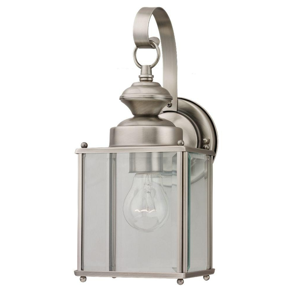 Well Liked Nickel Outdoor Lanterns For Sea Gull Lighting Jamestowne 1 Light Antique Brushed Nickel Outdoor (View 4 of 20)