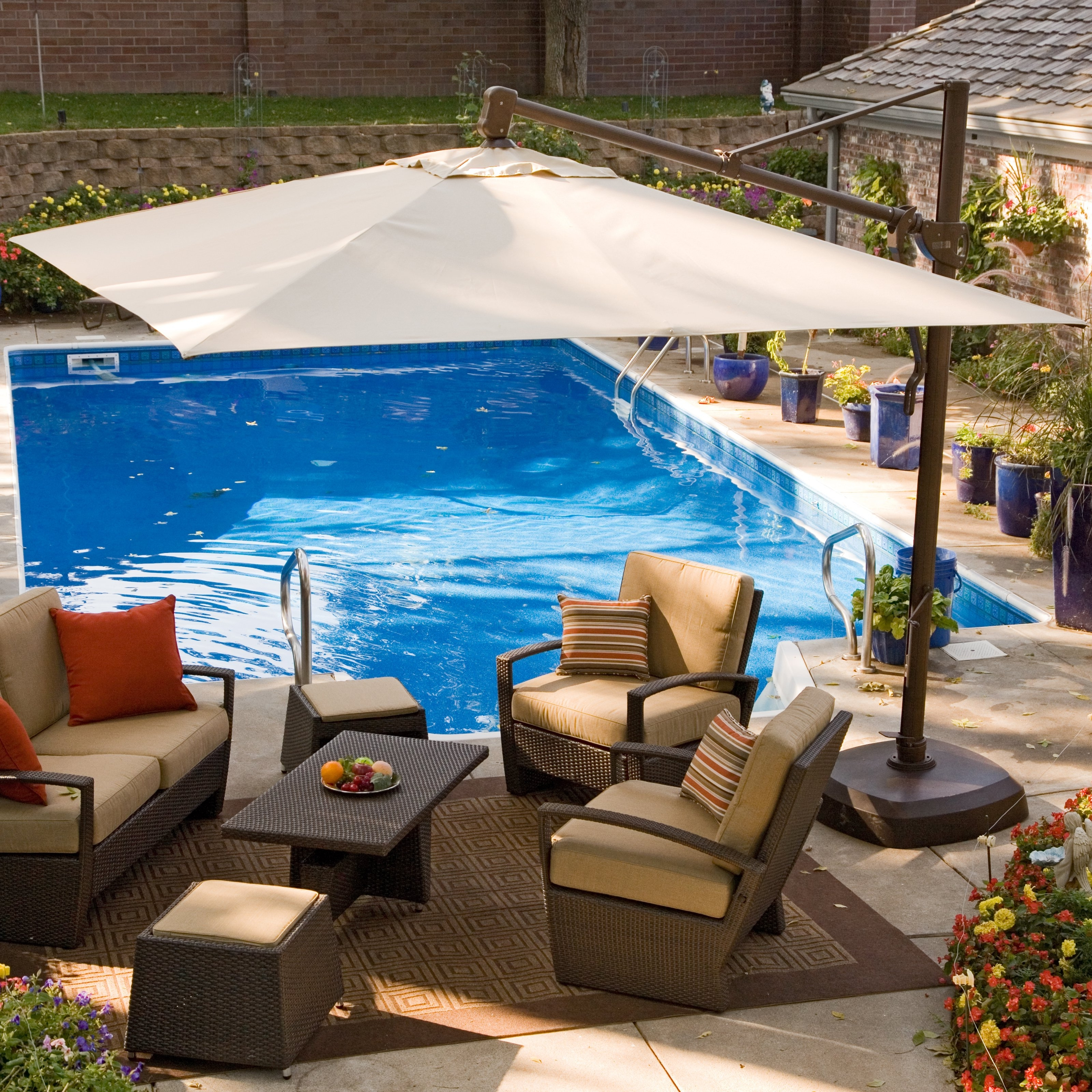 Well Liked Offset Patio Umbrellas With Base Intended For Patio & Garden: Stunning Offset Patio Umbrella Shields Guest (View 19 of 20)