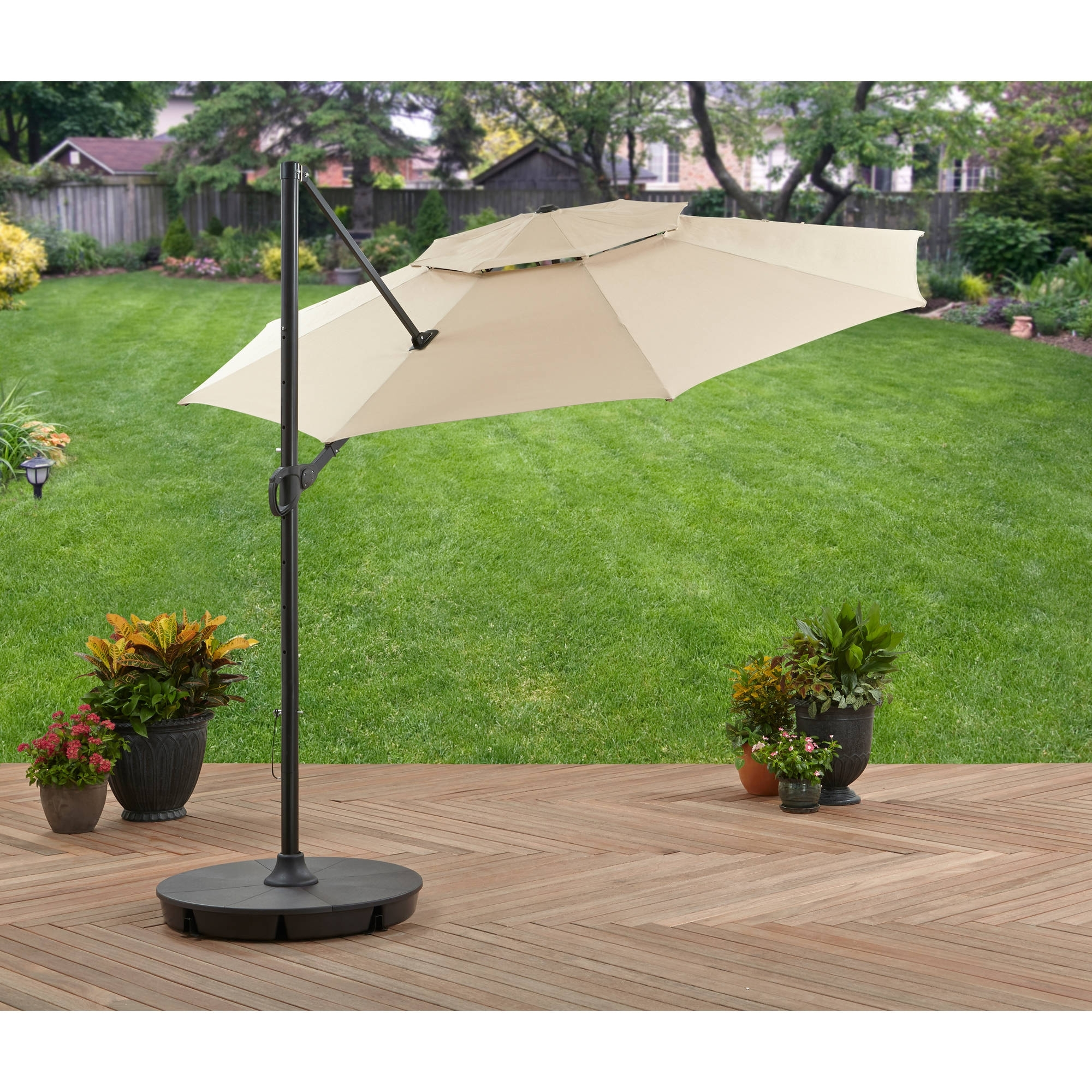 Well Liked Offset Patio Umbrellas With Base With Regard To Better Homes And Gardens 11' Offset Umbrella With Base, Tan (View 20 of 20)