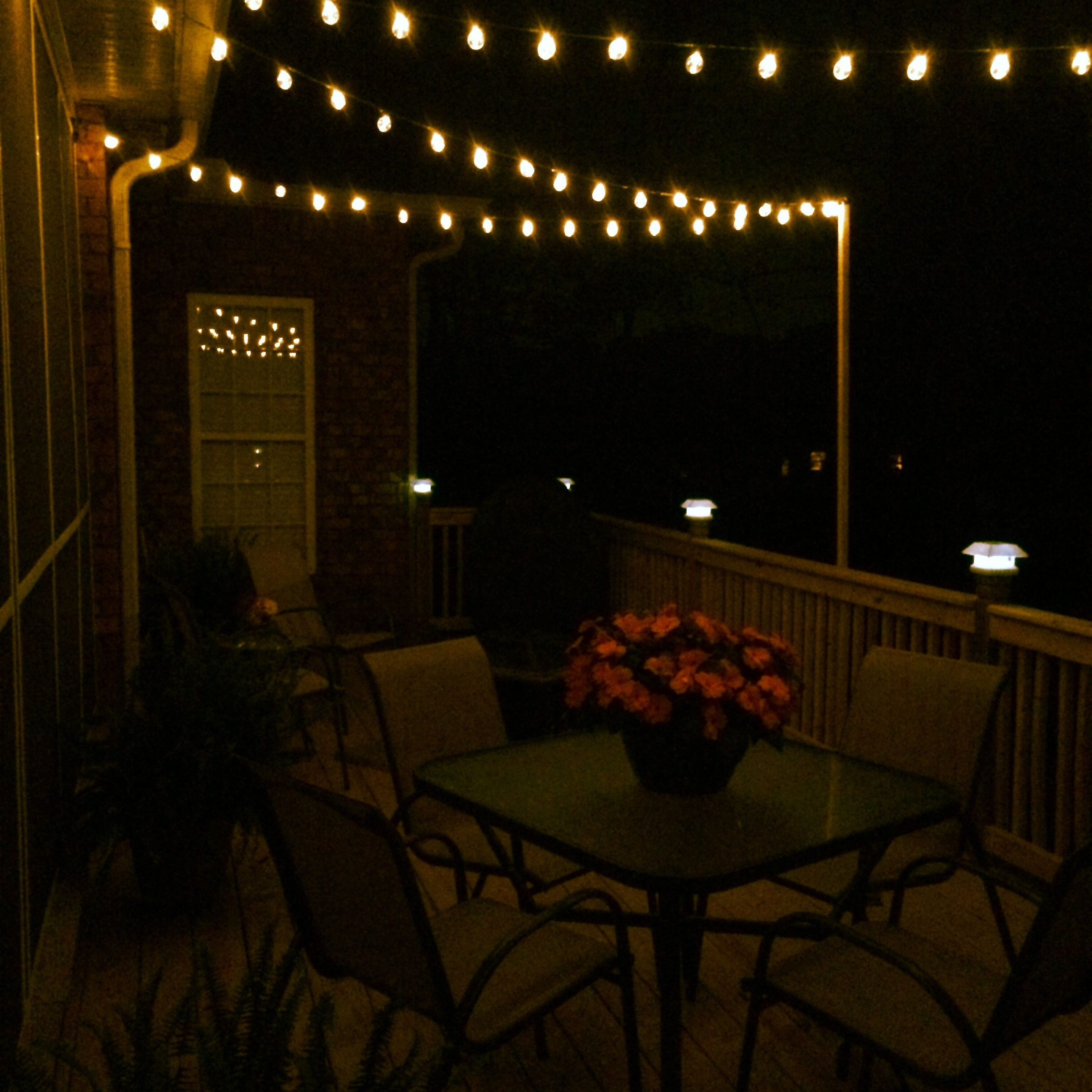 Well Liked Outdoor Deck Lanterns Inside Diy Deck Lighting Using Wooden Poles And S Hooks (View 19 of 20)