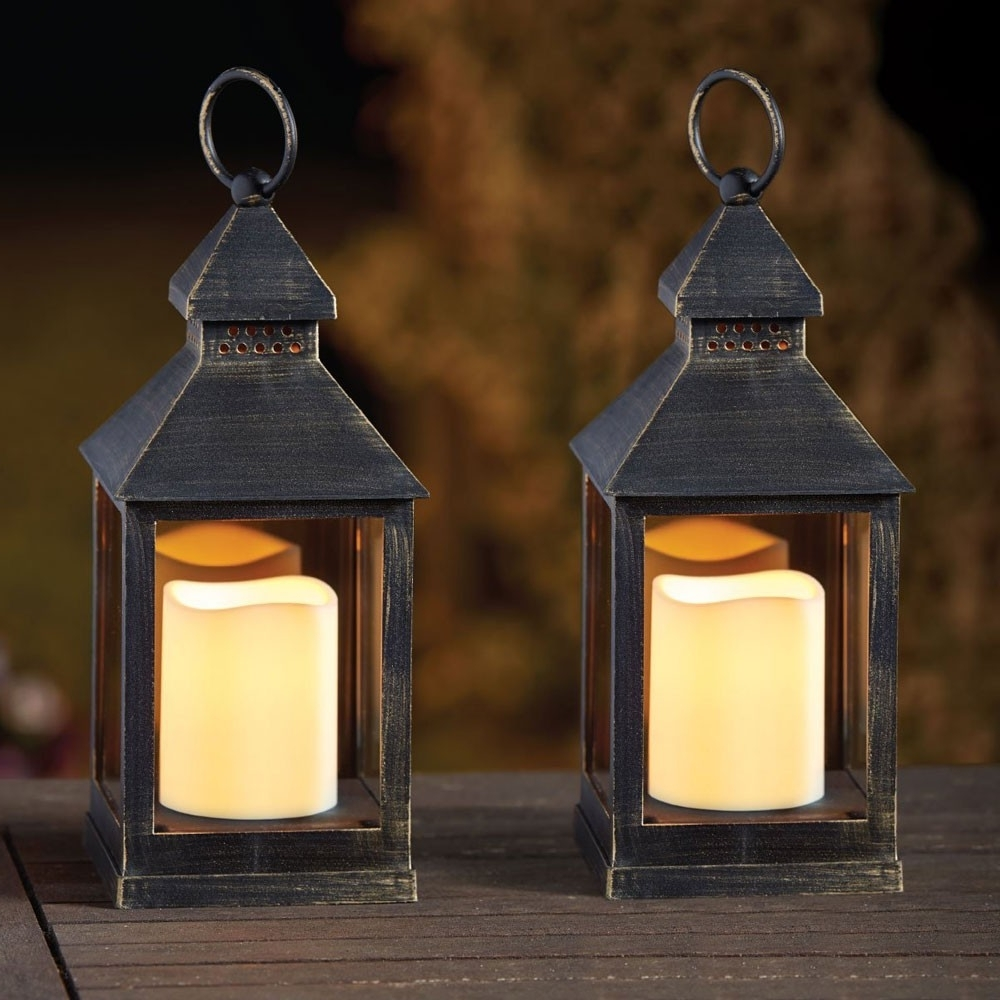 Well Liked Outdoor Lanterns With Battery Candles Pertaining To Kentish Candle Lantern (pack Of 2) (View 12 of 20)