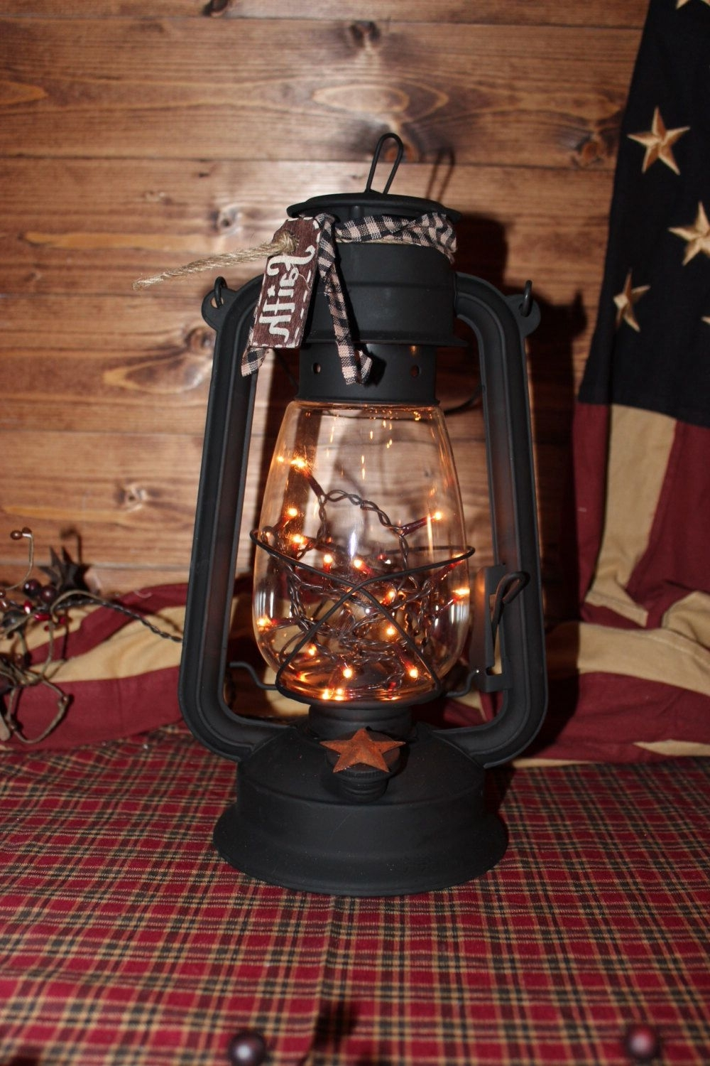 Well Liked Outdoor Railroad Lanterns Intended For Xl Lantern W/flicker Bulb. Primitive.country Decor (View 16 of 20)