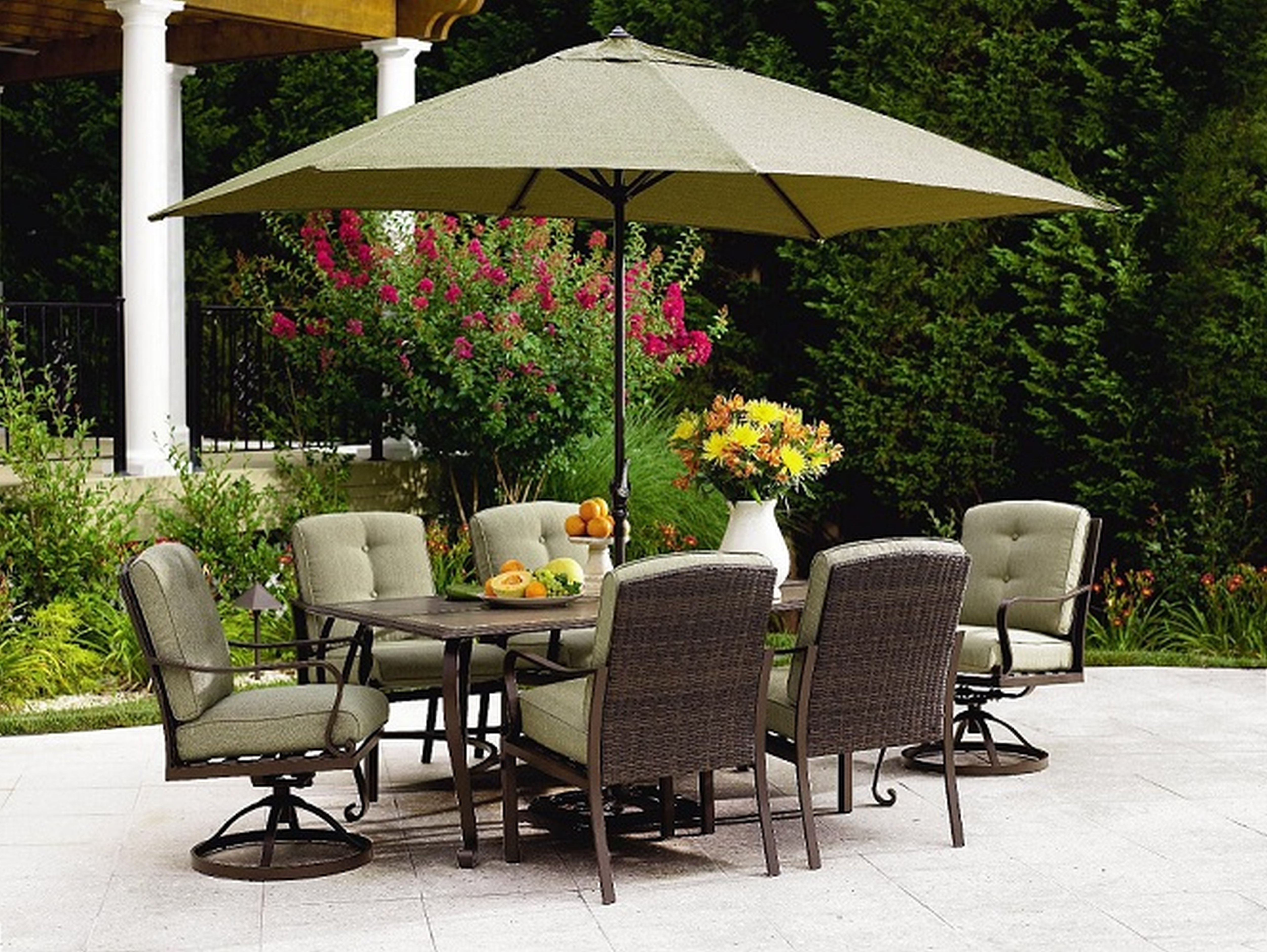 Well Liked Patio Dining Sets With Umbrellas Within Outdoor Patio Furniture With Umbrella Home Design Ideas Of Small (View 19 of 20)