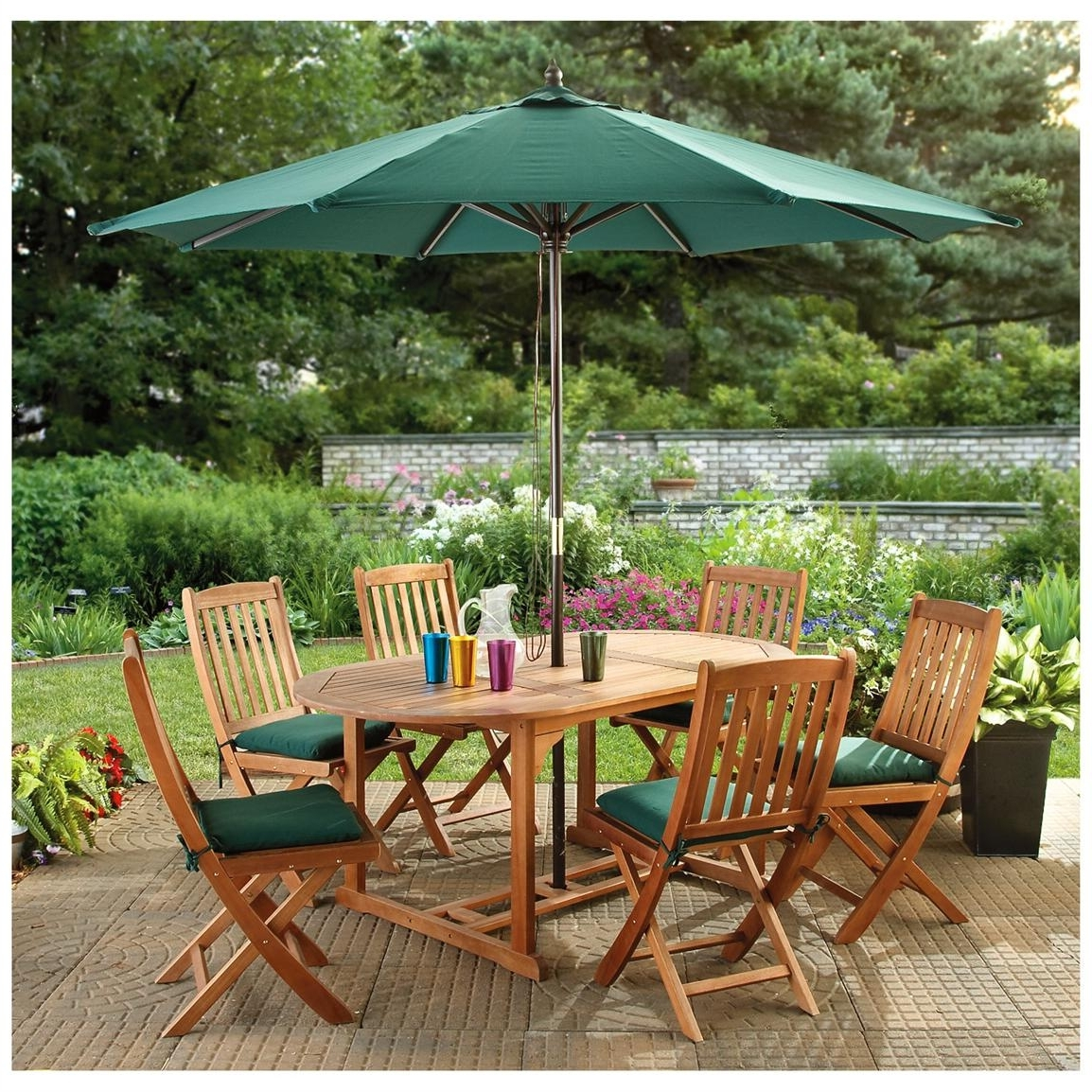 Well Liked Round Outdoor Dining Table With Umbrella Patio Furniture Sets For 6 Pertaining To Patio Furniture Sets With Umbrellas (View 20 of 20)