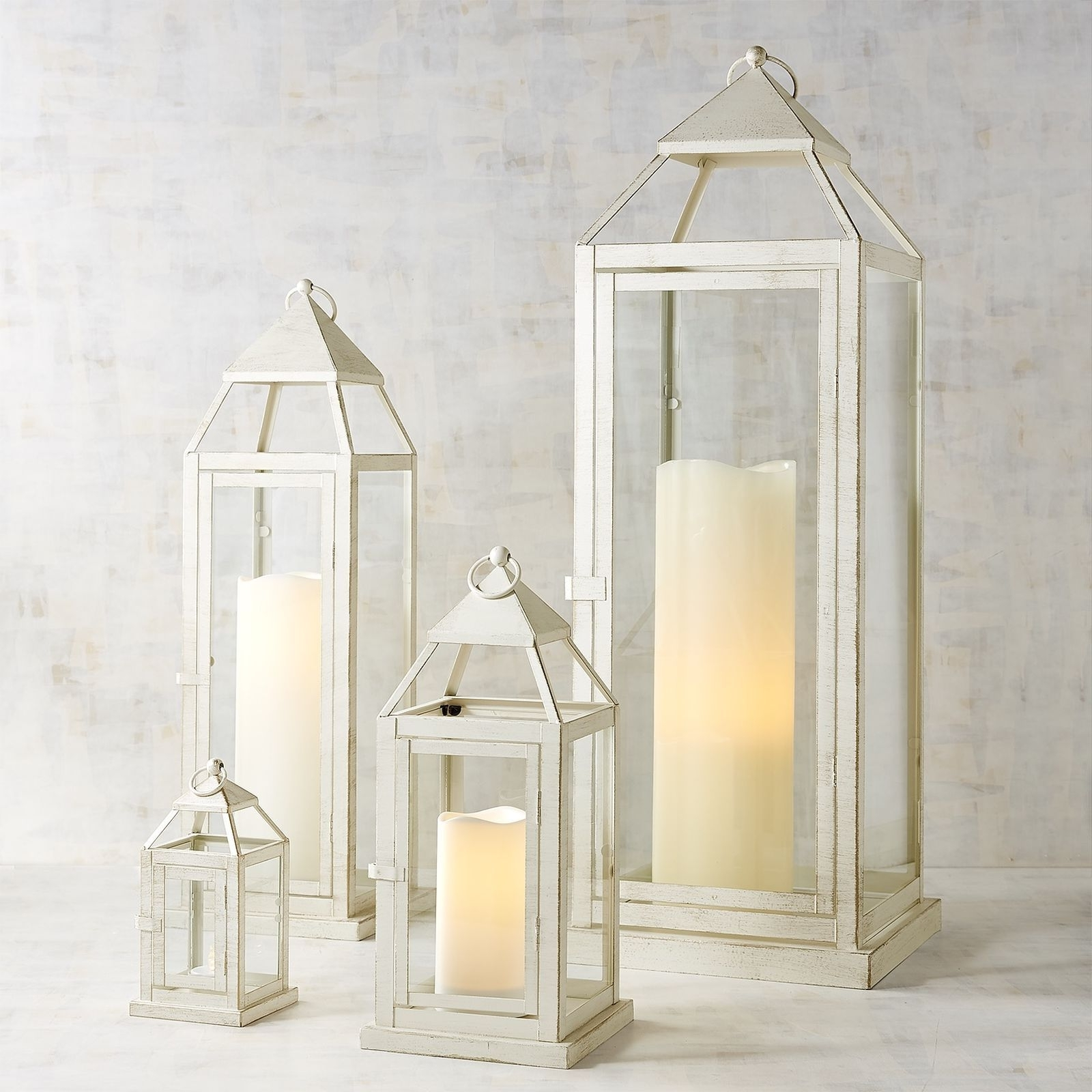 Well Liked Rust Proof Outdoor Lanterns Intended For Landen White Metal Lanterns (View 20 of 20)
