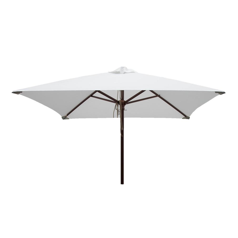 Well Liked Square White Patio Umbrella Pulley Pin Uv Resistant Market Hardwood Inside White Patio Umbrellas (View 7 of 20)