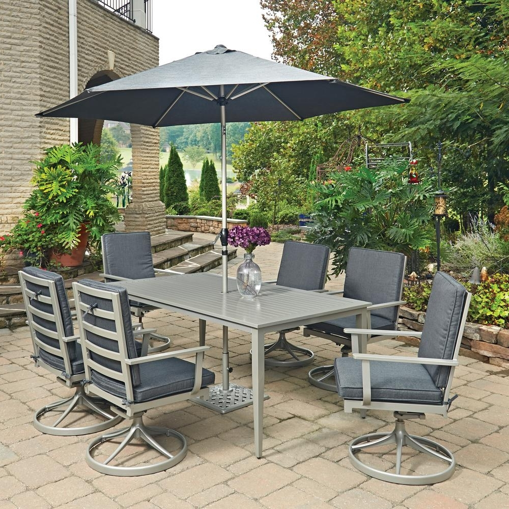 White Outdoor Dining Table With Umbrella Hole Patio And Set Spanish With Regard To Recent Patio Tables With Umbrella Hole (View 20 of 20)