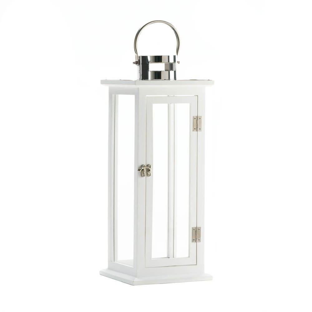 White Outdoor Lanterns Throughout Latest Metal Lanterns, Highland Large Decorative Floor Patio Rustic Outdoor (View 4 of 20)