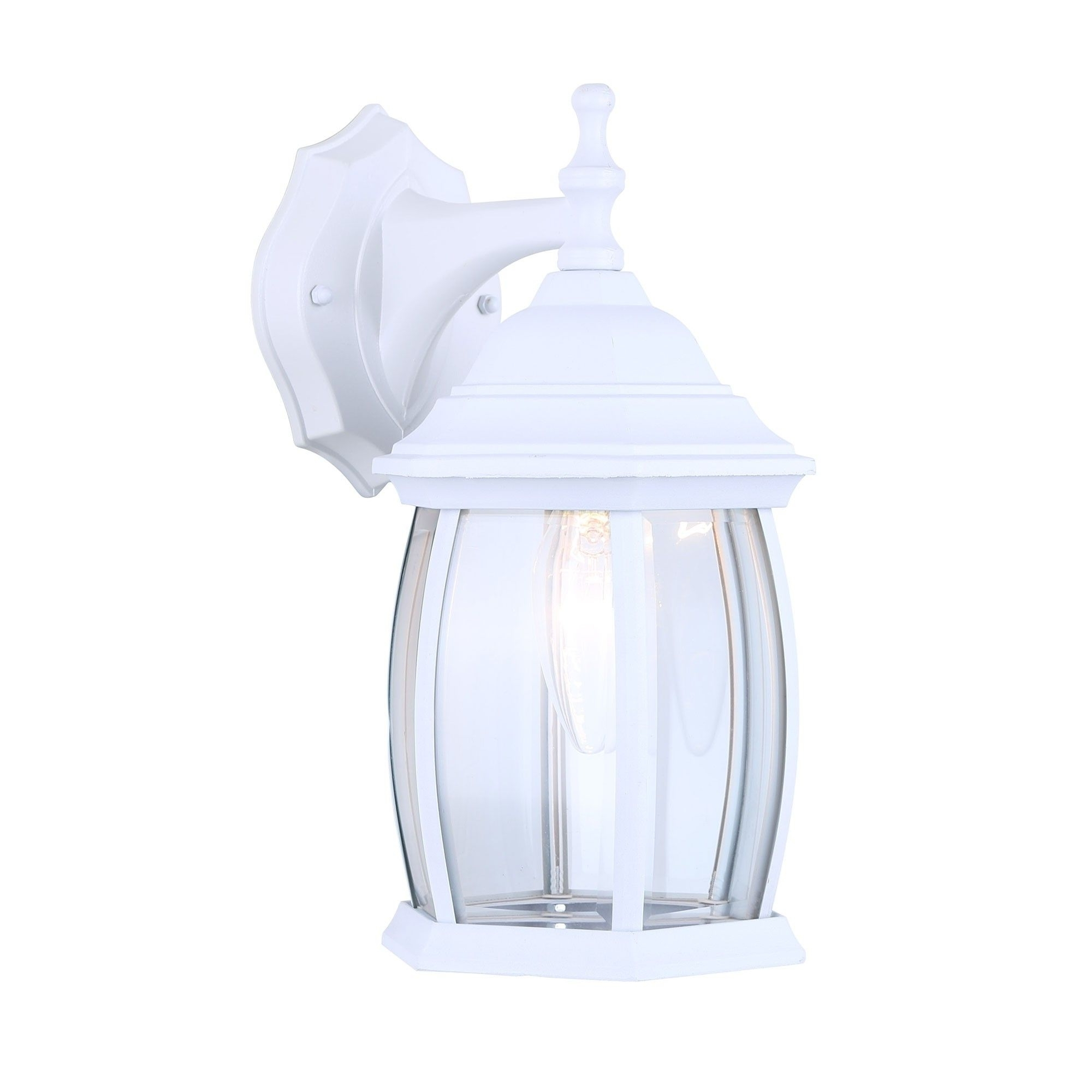 White Outdoor Lanterns With Recent Canarm Iol12Wh Exterior Outdoor Light Fixture Lantern Sconce Curved (View 16 of 20)