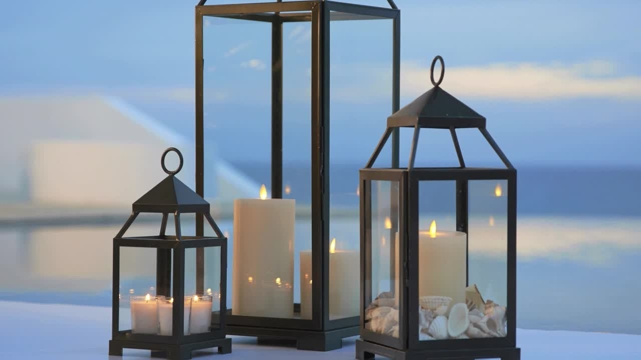 White Outdoor Lanterns Within Current Summer Outdoor Decor With Lanterns (View 13 of 20)