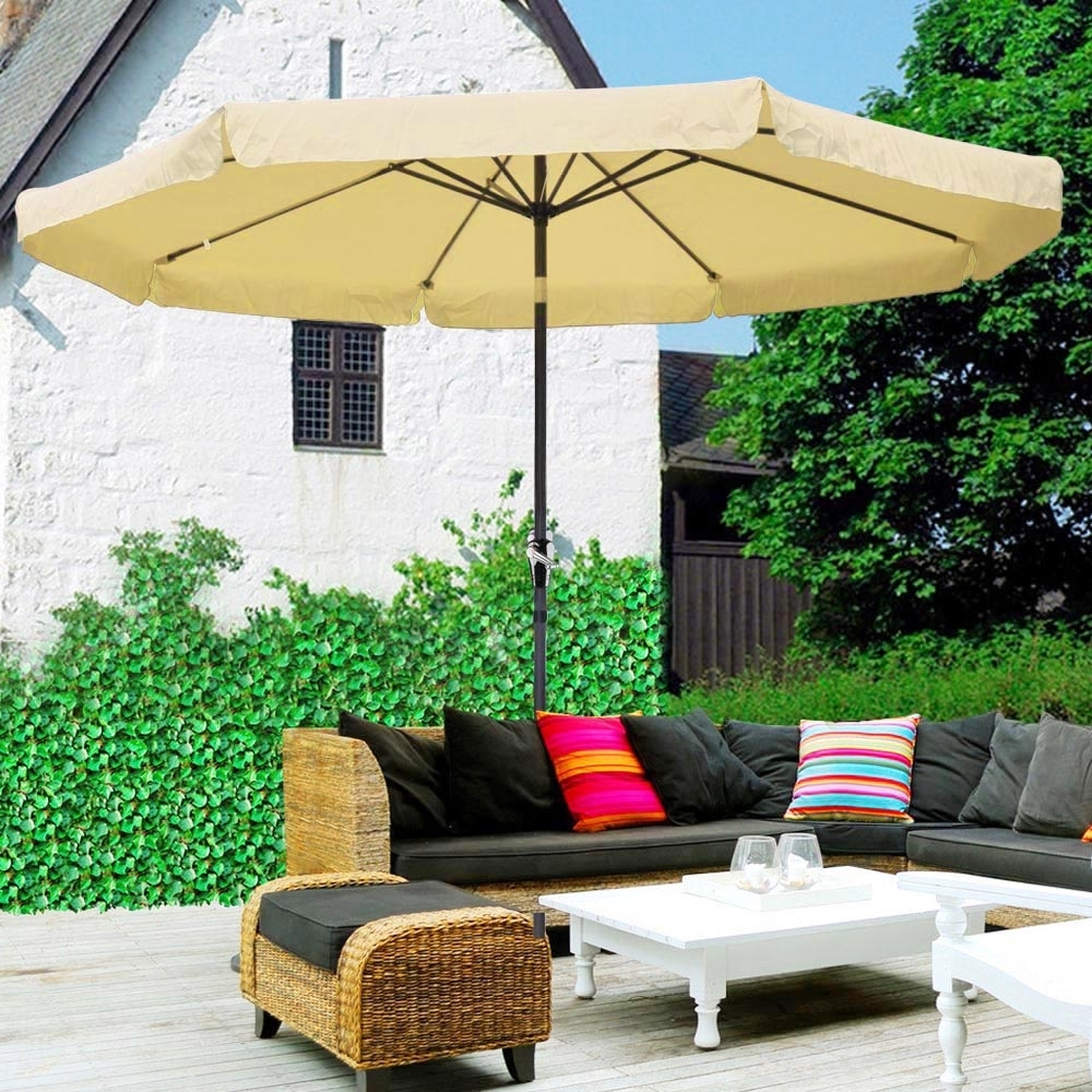 Widely Used 10ft Aluminum Outdoor Patio Umbrella Yard Garden Market W/valance With Tilting Patio Umbrellas (View 15 of 20)