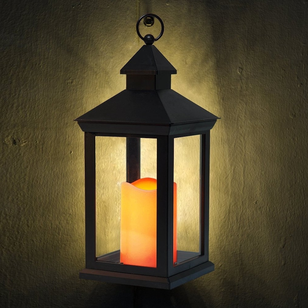 "Widely Used Bright Zeal 14"" Tall Vintage Decorative Lantern With Led Flickering Regarding Outdoor Lanterns With Timers (View 18 of 20)"