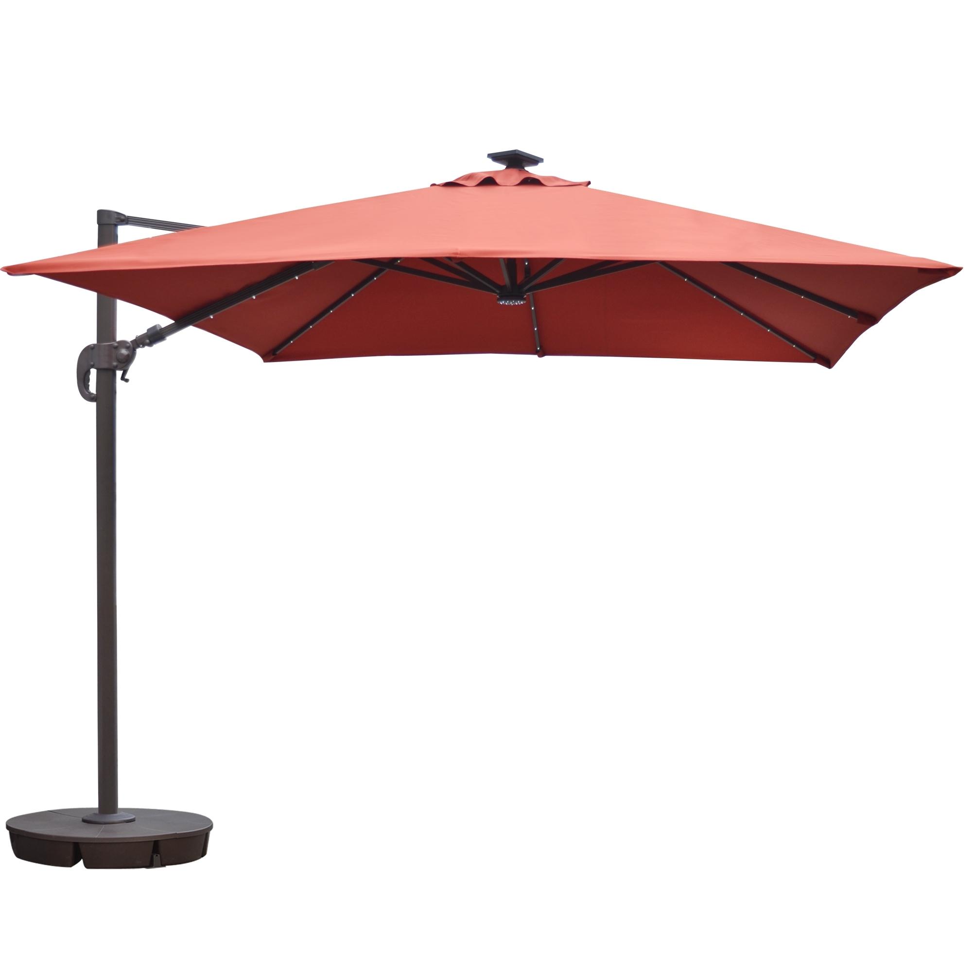 Widely Used Island Umbrella Santorini Ii Fiesta 10 Ft Square Cantilever Solar Regarding Cantilever Patio Umbrellas (View 15 of 20)