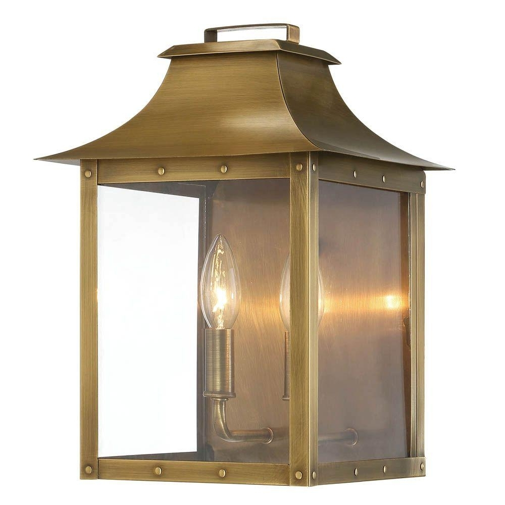 Widely Used Outdoor Big Lanterns Regarding Acclaim Lighting Manchester Collection 2 Light Aged Brass Outdoor (View 11 of 20)