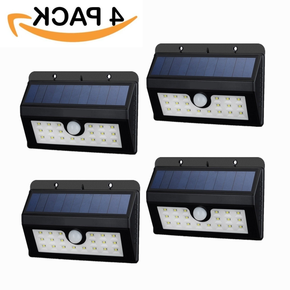 Widely Used Outdoor Oil Lanterns For Patio Regarding Mpowtech 4 Pack 20 Led Solar Lights,outdoor Motion Sensor Wall Light (View 17 of 20)