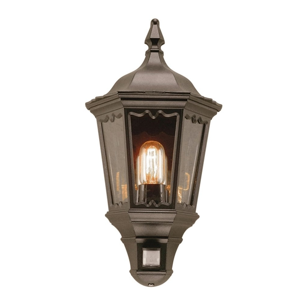 Widely Used Outdoor Pir Lanterns In Elstead Md7Pirblack Medstead 1 Outdoor Pir Half Wall Lantern In Black (View 19 of 20)