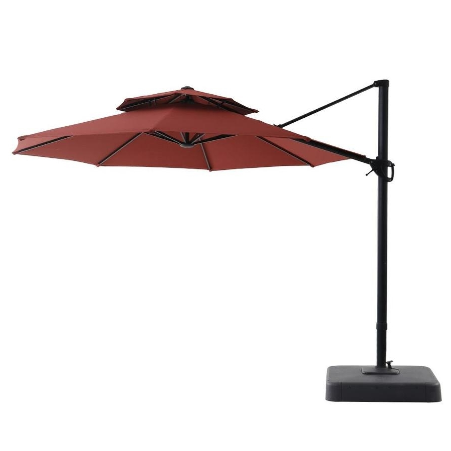 Widely Used Shop Royal Garden Red Offset 11 Ft Patio Umbrella With Base At Lowes For Lowes Offset Patio Umbrellas (View 5 of 20)