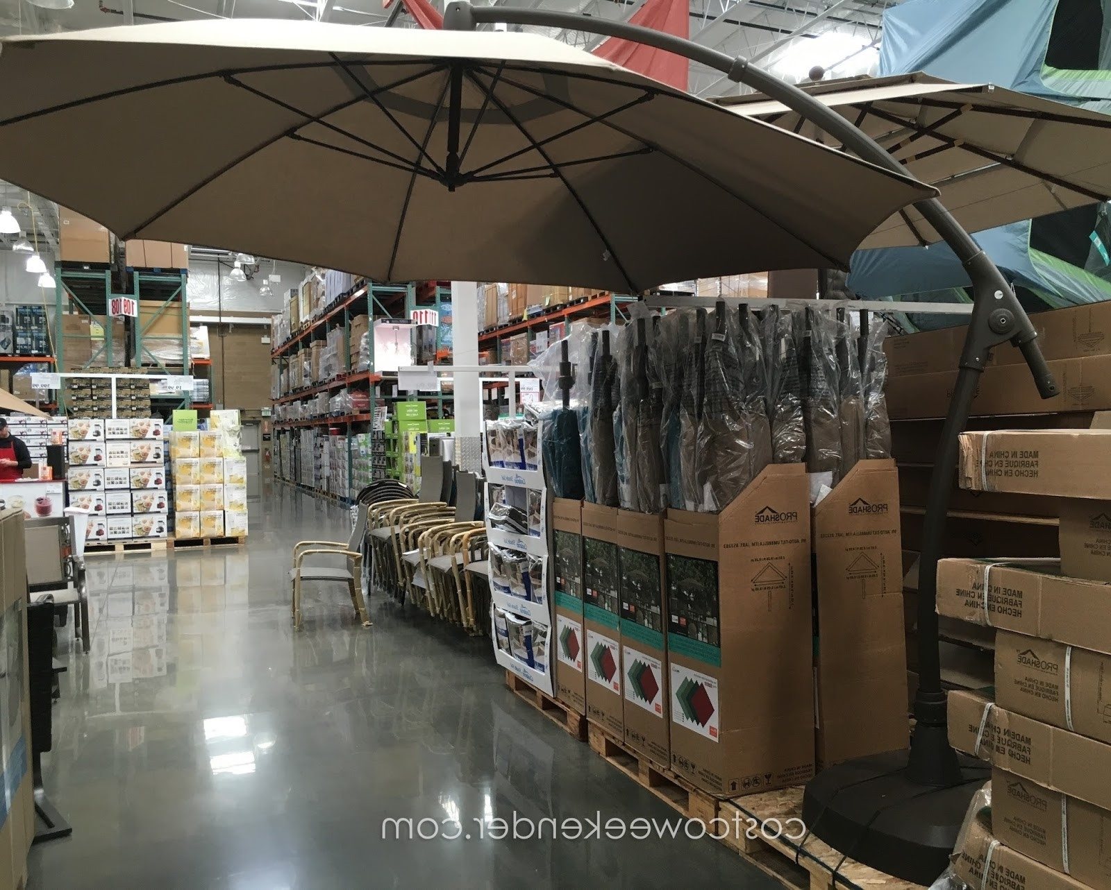 Widely Used Sunbrella Patio Umbrellas At Costco Inside 11 Cantilever Patio Umbrella With Base Treasure Garden Cantilever (View 19 of 20)