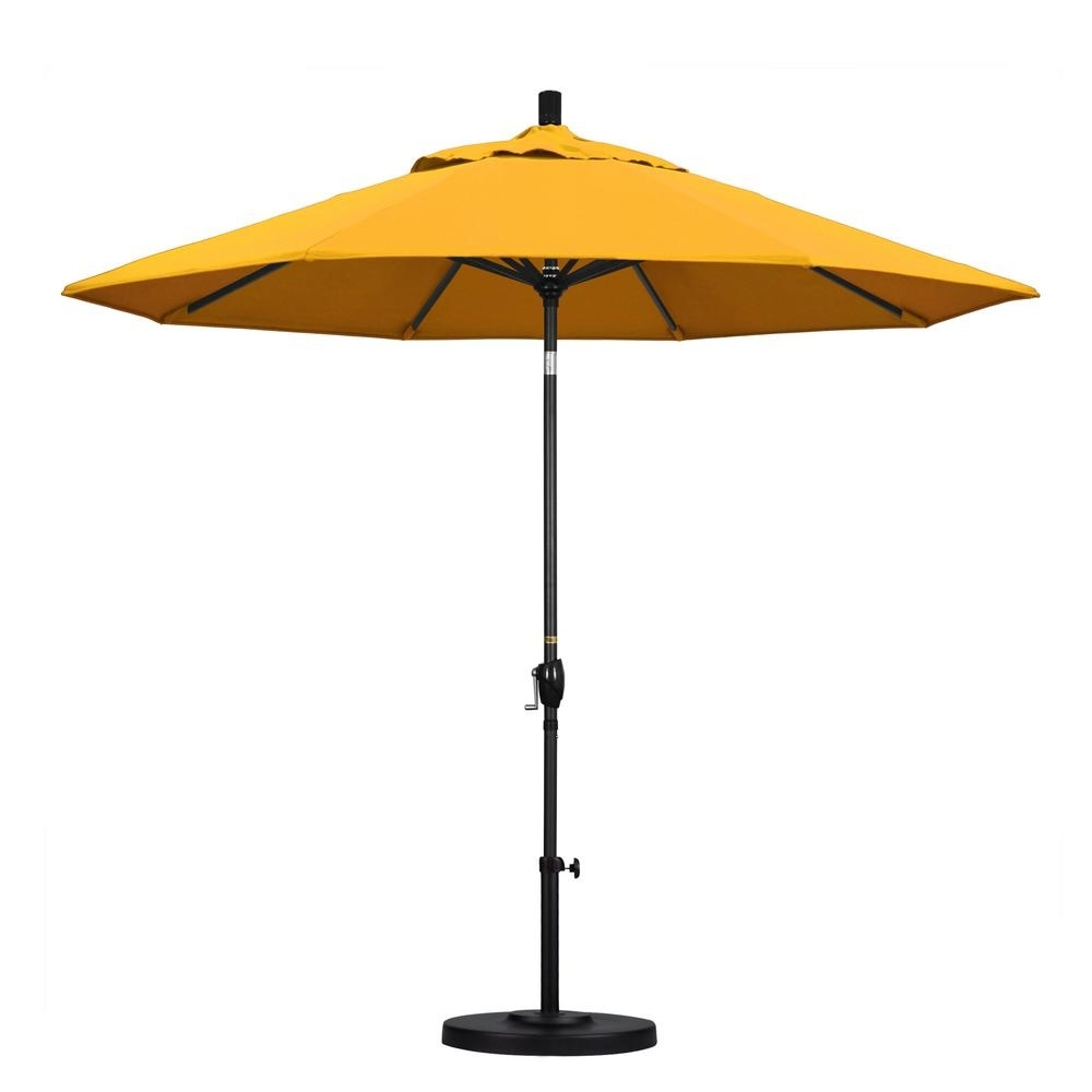 Yellow Sunbrella Patio Umbrellas With Preferred California Umbrella 9 Ft. Aluminum Push Tilt Patio Umbrella In (Gallery 5 of 20)